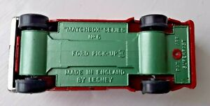 Matchbox Superfast - #6 Ford Pick-Up Wide Wheels - Rare Metallic Green Base