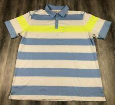 NIKE Golf Tour Performance Dri-Fit Short Sleeve Neon Striped Blue Polo Shirt XL