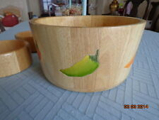 """Clay Art Hand Painted Wooden Serving Mixing Bowl, 2001, Pepper 11"""" 3 bowls 4 pc"""