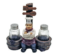French Chef Picnic Figurine Statue Salt and Pepper Shaker Holder (W6)