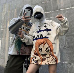 Anime One Piece Roronoa Zoro Nami Hoodie Sweatshirt Loose Coat Jacket