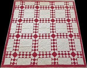 Antique Early 1900's Hand Stitched 8 spi Red & White Diamonds Quilt 74x74