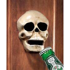 Vintage Antique Replica Cast Iron Skeleton Skull Wall Mount Beer Bottle Opener