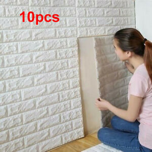 10pcs Foam 3D Tile Brick Wall Sticker Self-Adhesive Wallpaper Panels Decorations