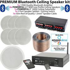 6x 80W Stereo & 1x 160W Ceiling Subwoofer Speaker Kit - Bluetooth HiFi Amplifier