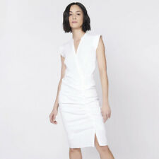 $450 VERONICA BEARD White Button Down Ruched Cotton Shirt Dress 0 2 4 8