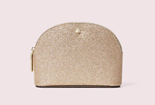 NWT Kate Spade Burgess Court Small Dome Cosmetic Bag Gold Glitter