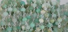 5 Ft. Chrysoprase Rondelle 3.5-4mm Beads, Rosary Beaded Chain Silver Plated Wire