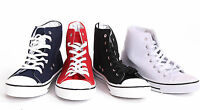 NEW WOMENS LADIES GIRLS CANVAS HIGH TOP TRAINER PLIMSOLLS CASUAL PUMPS SIZE 3-8