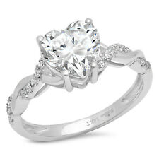 2.09CT Heart Cut Bridal Halo Engagement Bridal Ring band 14k White Rose Gold