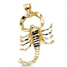 Scorpion Charm Solid 14k Yellow Gold Zodiac Sign Scorpio Pendant Hip Hop Style
