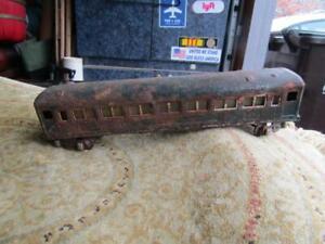 "Old Tin Passengers Train Car Green  10.5"" Long Wheel Spacing  1 1/8"" for Rehab"