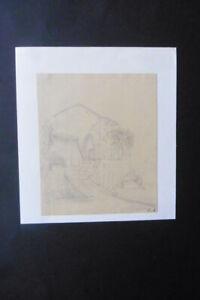 GERMAN SCHOOL 19thC - ITALIAN LANDSCAPE NEAR NAPLES - MONOGR. PENCIL DRAWING
