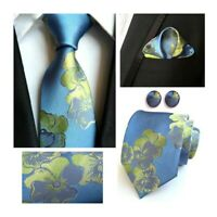 Blue Green Tie Cufflinks Pocket Square Set Flower Pattern Handmade 100% Silk