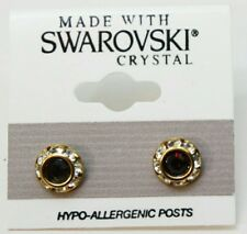 9mm Dark Red Silver Crystal Circle Rondelle Gold Earrings Made with SWAROVSKI
