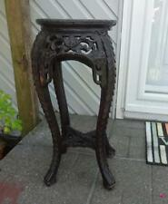 """Antique Asian Wood Carved Plant Stand Marble Top 24"""" tall"""