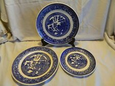 3 VINTAGE BLUE WILLOW PLATES ROYAL & UNMARKED