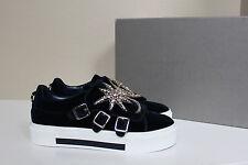 sz 9.5 / 40 Alexander McQueen Blue Triple monk Velvet Sneaker jeweled Moon Shoes