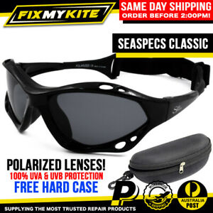 SEA SPECS BLACK POLARIZED FISHING GLASSES SEASPECS KITE SURF BOAT JETSKI KAYAK