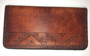 Men's Vintage Leather Long Bifold Wallet Tooled Design