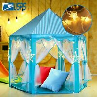 Kids Girls Princess Castle Play Tent Children Play House +13Ft LED String Lights