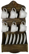 Wooden Wall Rack With 6 Ceramic Coffee Cups And Saucers FA012