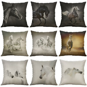 Painting Black White horse Cotton Linen pillow case Cushion Cover Home Decor