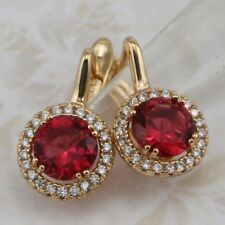 Super Gorgeous Ruby Red Gems Jewelry Yellow Gold Filled Huggie Earrings h2962