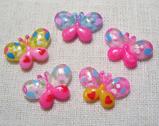 LOT de 5 EMBELLISSEMENTS en résine - PAPILLONS MULTICOLORES - 22 x 15 mm