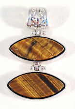 NEW SILVER HINDGED DOUBLE DROP TIGEREYE 2 INCH TIGER'S EYE PENDANT