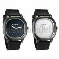 Luxury Men's PU Band Square Dial Strip Scale Business Analog Quartz Wrist Watch