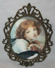 Hollywood Regency Vintage Gold Ornate Metal Italy Frame 16 x 12 Girl w/ dog