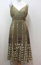 TED BAKER Ladies Olive Green Floral Silk Empire Waist Summer Dress Size L