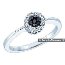 black diamond .25 carat 14K gold halo  engagement anniversary ring birthday