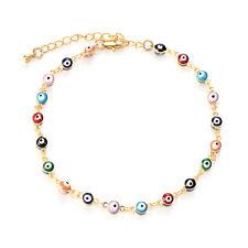 Turkish Jewelry Gold Filled Charm Evil Eye Chain Link Bracelet Rainbow Enamel