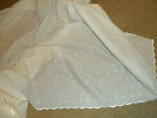"""EMBROIDERED 3 HOLE SCALLOPED EDGE CREAM POLY COTTON 42"""" WIDE.. PRICE 1MTR"""