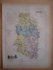 CARTE départementale de la MEUSE vers 1880  Bar-le-Duc Commercy Montmedy Verdun