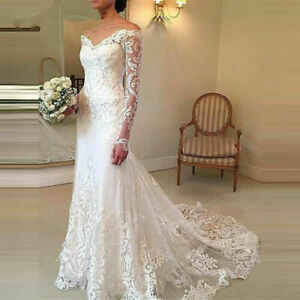 Long Sleeves Wedding Dresses Mermaid Country Bridal Gown White Ivory Custom Made