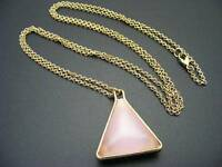 $18 Stephan & Co Reversible Triangle Pink/White Glass Pendant Goldtone Necklace