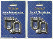 4 Pack x 8mm Stainless Steel D Shackles