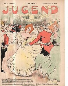 1897 Jugend February 6- German Art Nouveau cover - Winter Dance in Leipzig