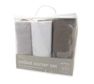 3 Piece Cot Bed Starter Set, Fitted Sheet, Fleece Blanket, Cellular Blanket Gift
