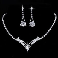 Silver Plated V Shape Rhinestone Necklace, Earrings Bridal Prom Jewelry Set