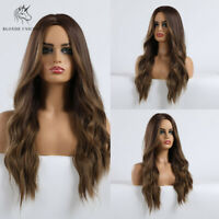 Long Curly Wavy Wigs Dark Brown Blonde Ombre Natural Wig for Women Fake hair