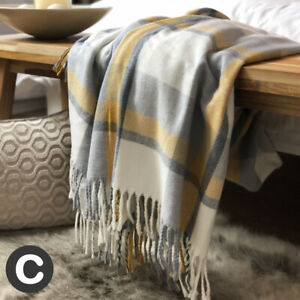 Luxury Ochre Grey Mustard Tartan Check Woollen Touch Soft Bed Sofa Blanket Throw