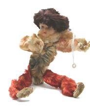 """Vintage Chenille Celluloid Christmas Ornament Decoration Pixie Elf Boy 9"""""""