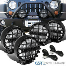 """4PCs 6"""" Round Black Offroad Super 4X4 Work Fog Light Lamps+Wiring+Relay+Switch"""