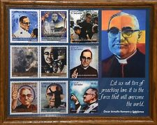 ST. OSCAR ROMERO - 9 COMMERATIVE STAMP REPRODUCTION COLLAGE - 11'X14' OAK FRAME