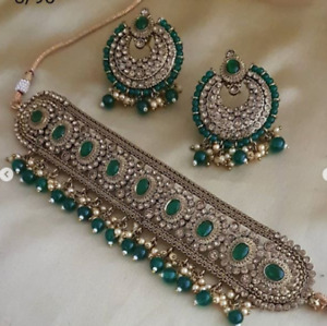 Indian Bollywood Pakistani Green Pearl Choker Necklace Earrings Jewelry Set