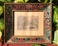 Antique Victorian Gilded Wood Picture Frame Hand Painted Glass Inserts Small